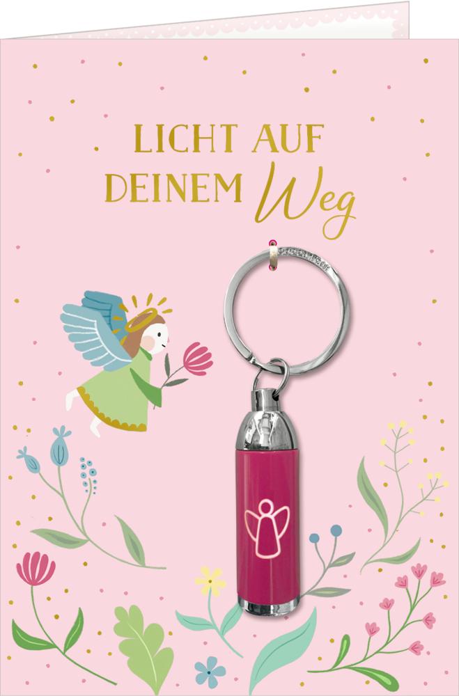 Grußkarte mit Taschenlampe: Licht auf deinem Weg (Engel)
