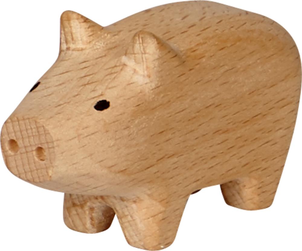 braunes Mini-Holzschweinchen Viel Glück
