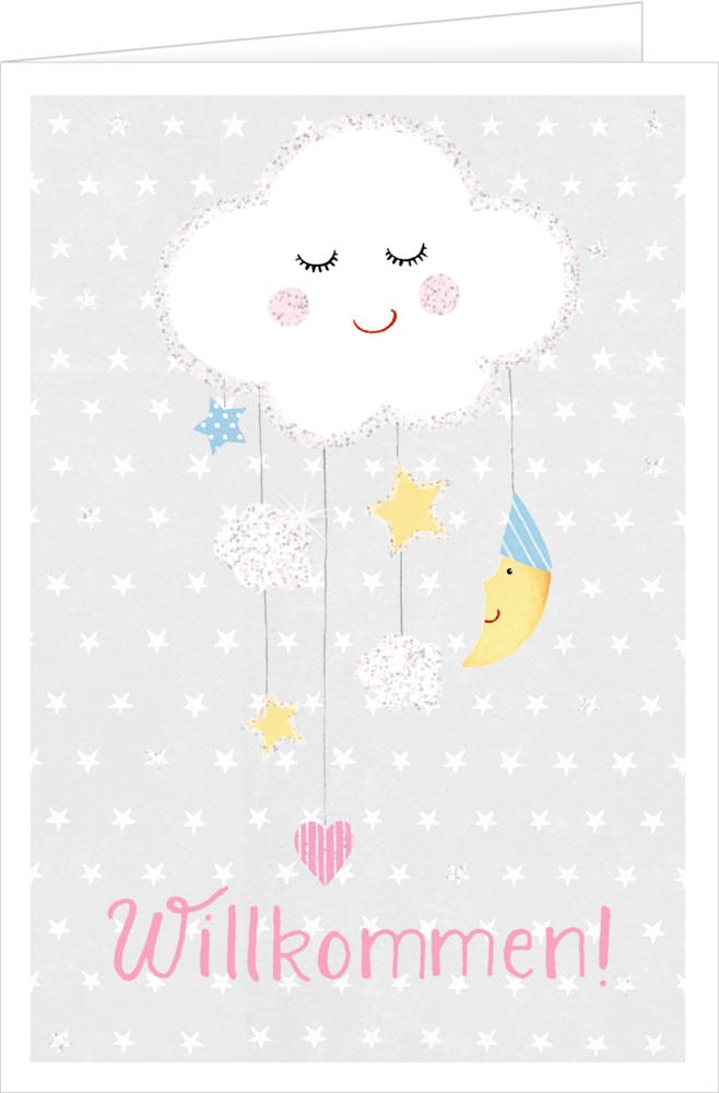 weiße Wolke, Grußkarte Willkommen BabyGlück