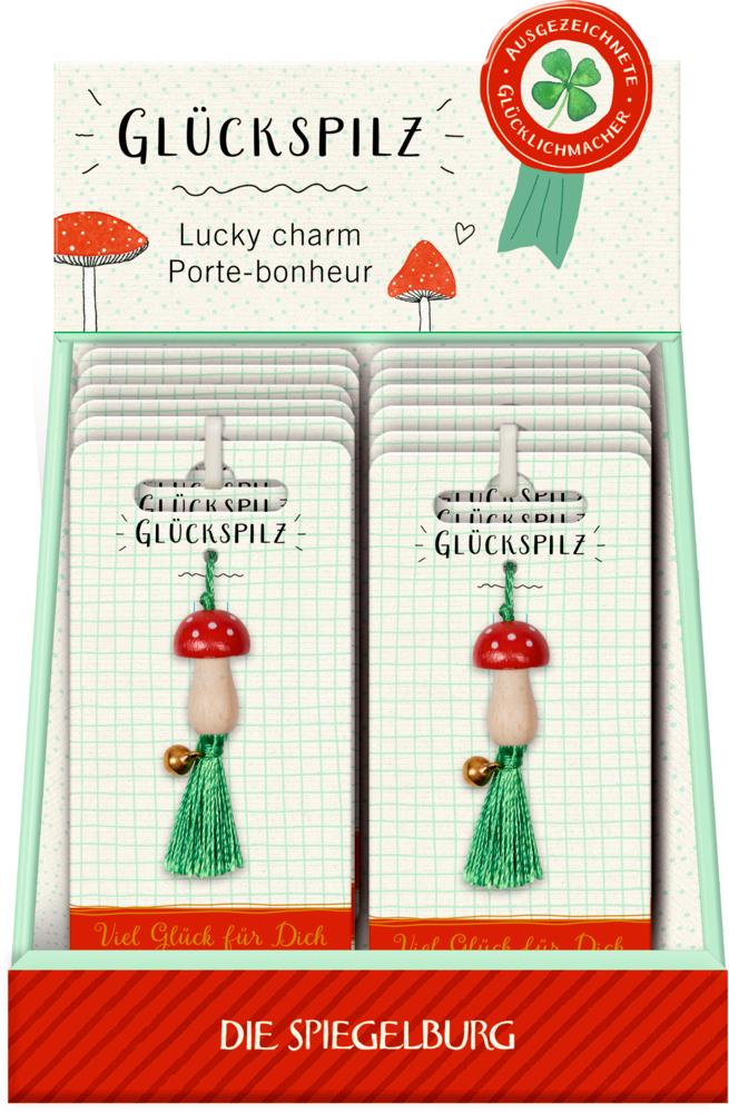 Glücksbringer Glückspilz Viel Glück (Pilz-Anhänger mit Glöckchen)