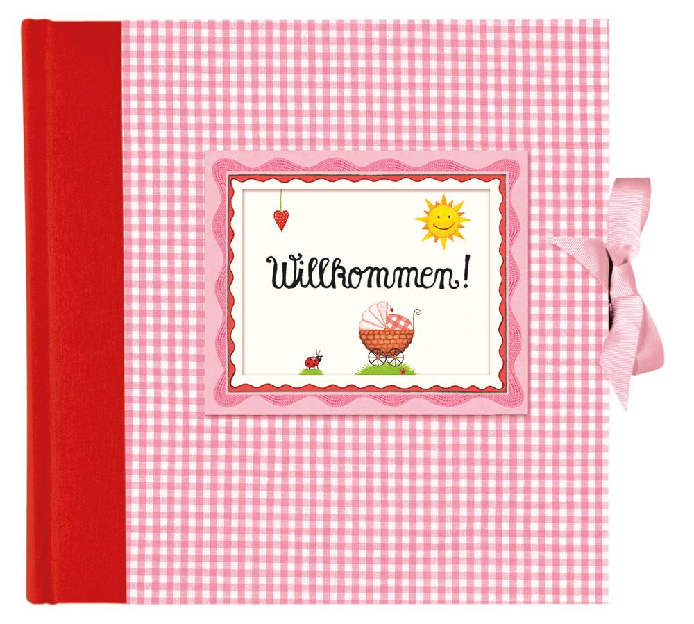 """Großes Baby-Fotoalbum """"Willkommen!"""", rosa"""