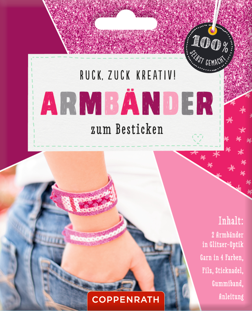 Armbänder zum Besticken: Glitzer-Optik pink 100% selbst gemacht