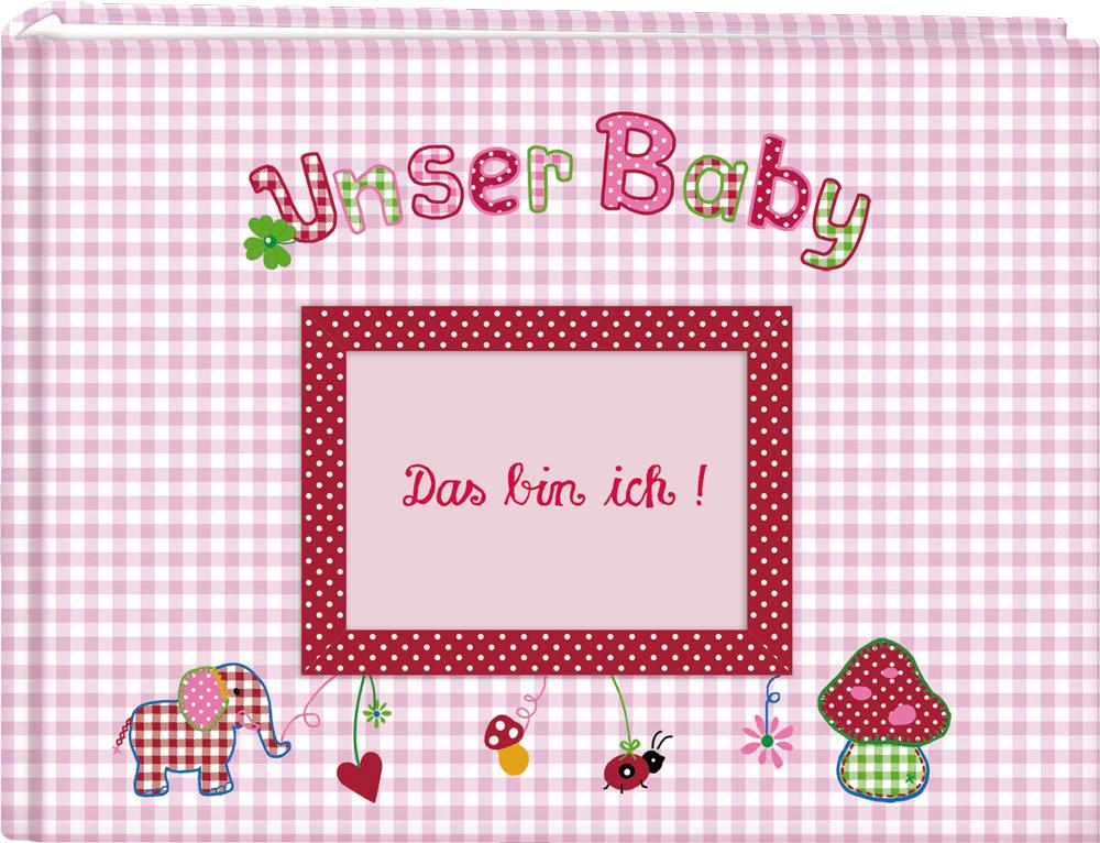 Großes Stoff-Fotoalbum Unser Baby, rosa
