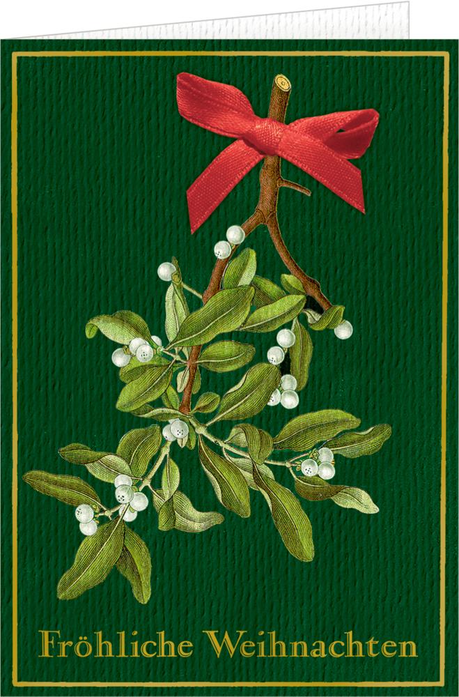 """Weihnachtskarte mit Schleife und Kuvert """"Fröhliche Weihnachten"""""""