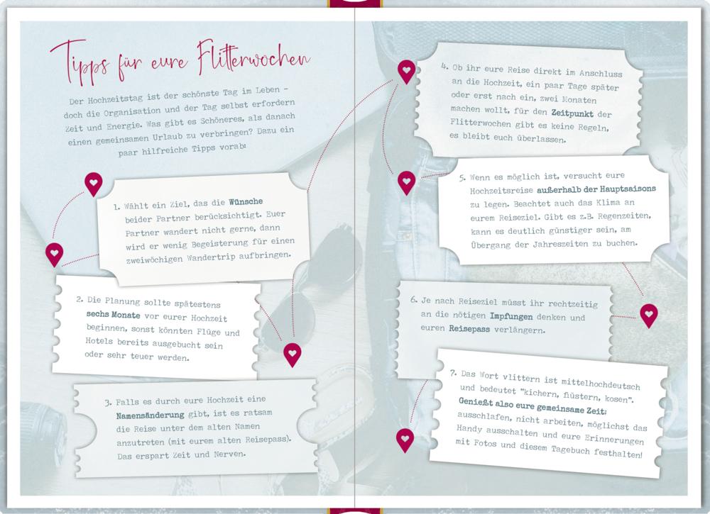 Eintragbuch mit Sammeltasche: Unser Reisetagebuch für die Flitterwochen