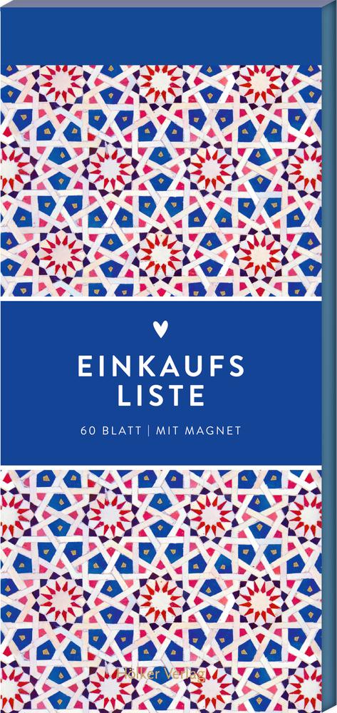 Einkaufsliste, Blaues Mosaik (Küchenpapeterie)