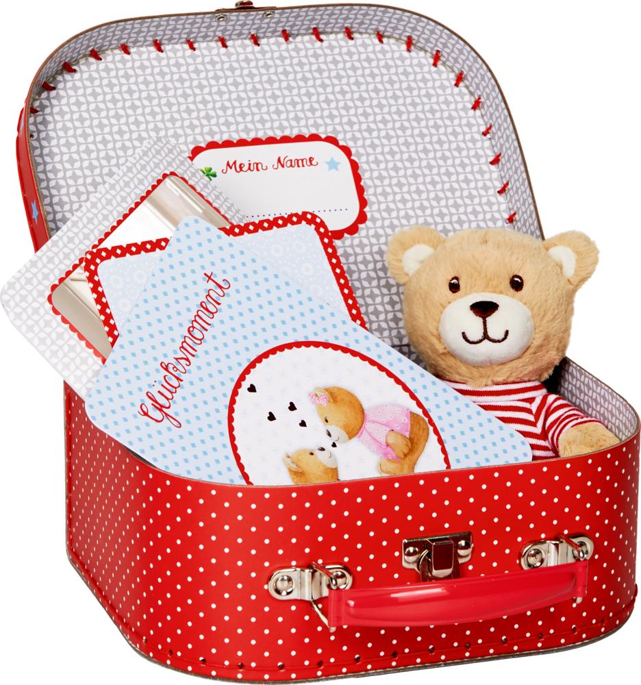 Geschenkset Teddy im Köfferchen BabyGlück