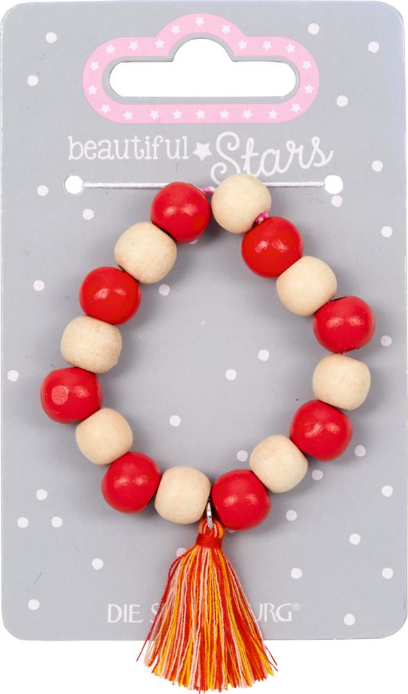 rot, Holz-Armband mit Quaste beautiful Stars