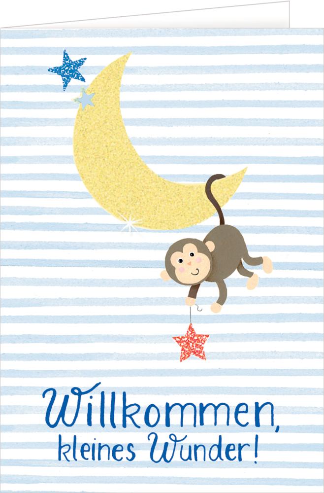 Affe, Grußkarte Willkommen BabyGlück