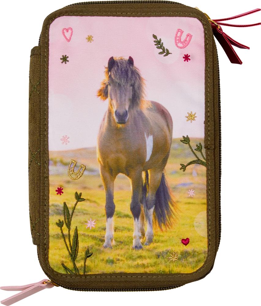 3-fach Federmäppchen Pferdefreunde, oliv