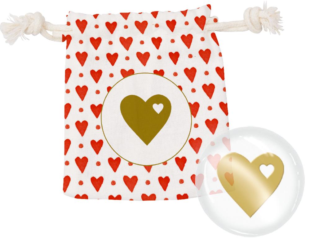 Herz, Glücksbringer Viel Glück (im Baumwollsäckchen)