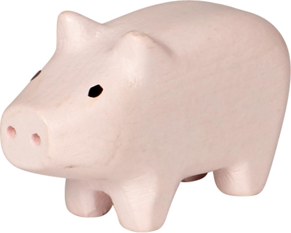 rosa Mini-Holzschweinchen Viel Glück