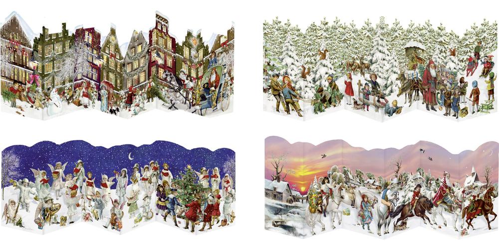 Nostalgische Leporello-Karte, Mini-Adventskalender (Behr)