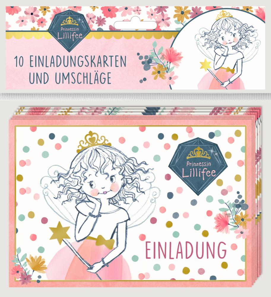 Einladungskarten - Prinzessin Lillifee (10 Karten + Umschläge)