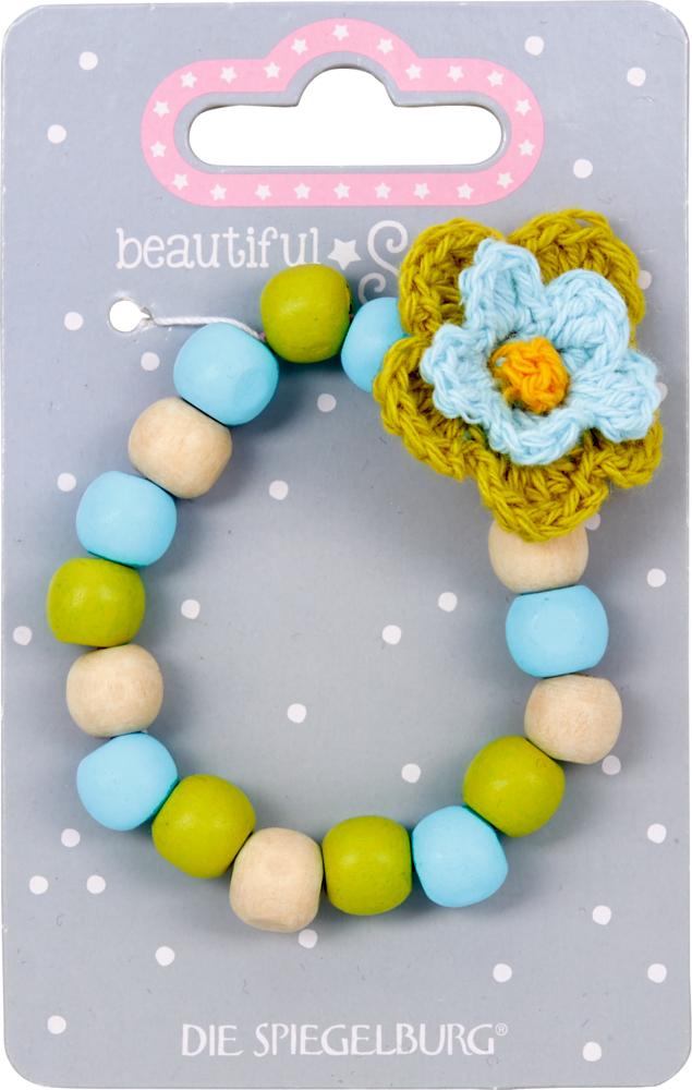 blau/grün, Holz-Armband mit Blume beautiful Stars