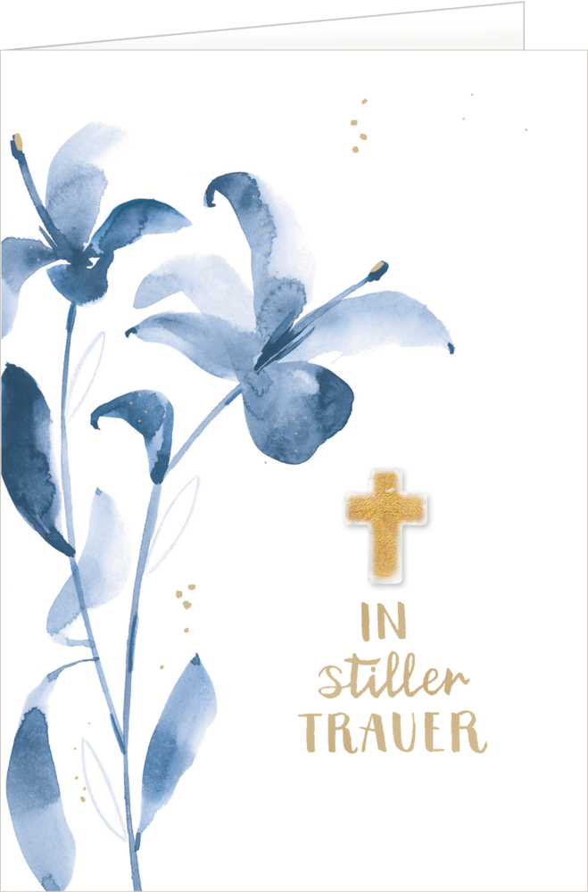 In stiller Trauer: Trauerkarte mit Glaskreuz