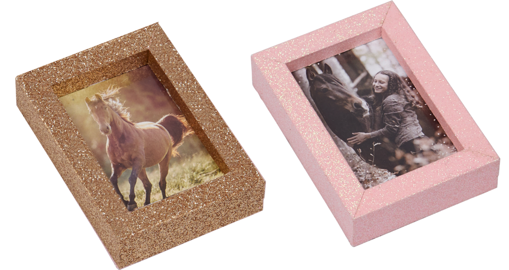 brauner Mini Glitzer-Bilderrahmen I LOVE HORSES