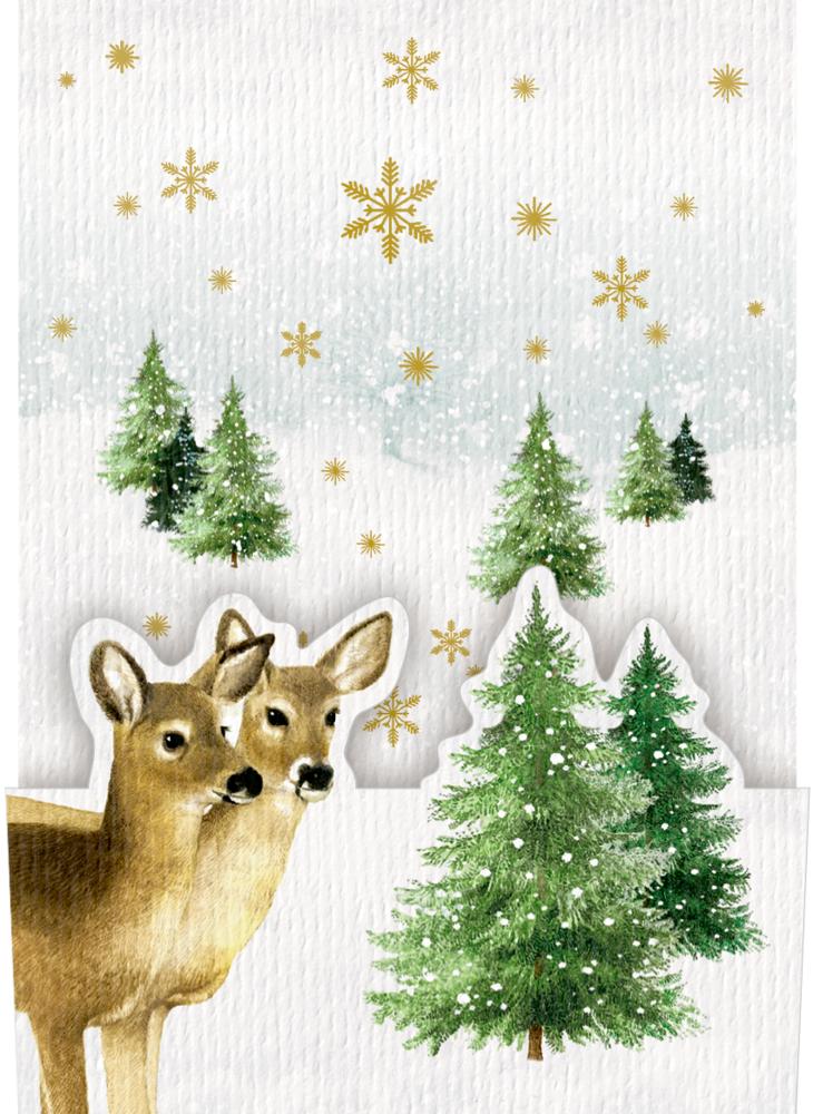 Pop-up-Karte zum Aufstellen mit Kuvert: Zauberhafte Weihnachten (Bastin)