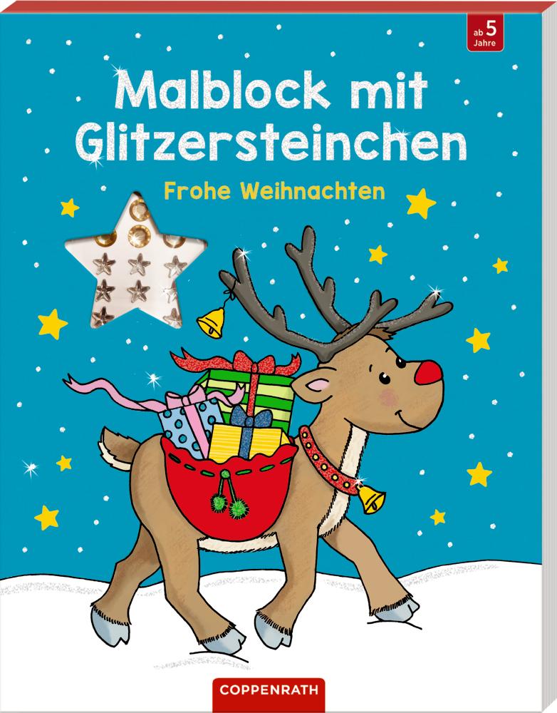 Malblock mit Glitzersteinchen - Frohe Weihnachten