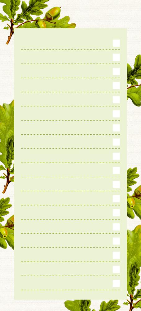 Einkaufsliste, Eichenblätter (Küchenpapeterie)