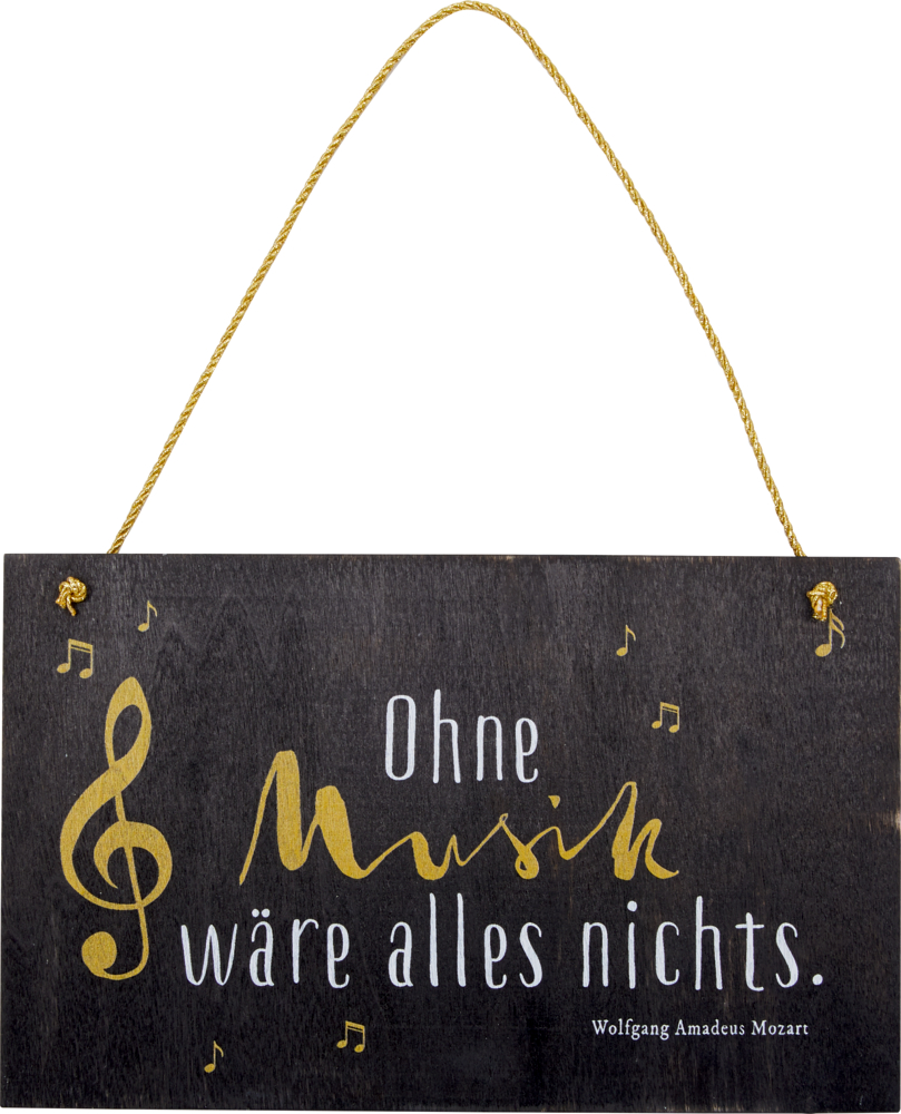 """Holzschild """"Ohne Musik ..."""" All about music"""