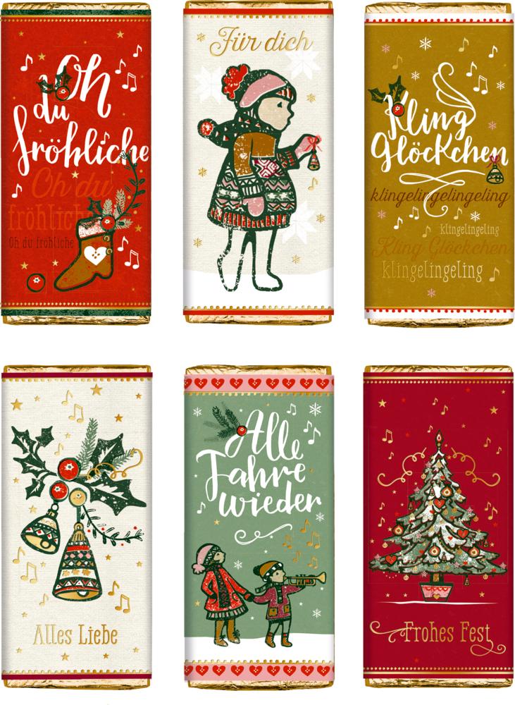 """Vollmilch-Schokolade Weihnachtliche Schokogrüße """"Alle Jahre wieder..."""""""