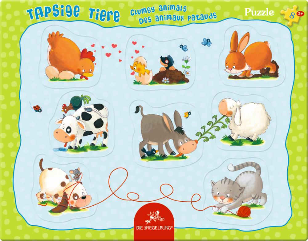 Rahmenpuzzle mit Fingerlochstanzung Tapsige Tiere (8 Teile)