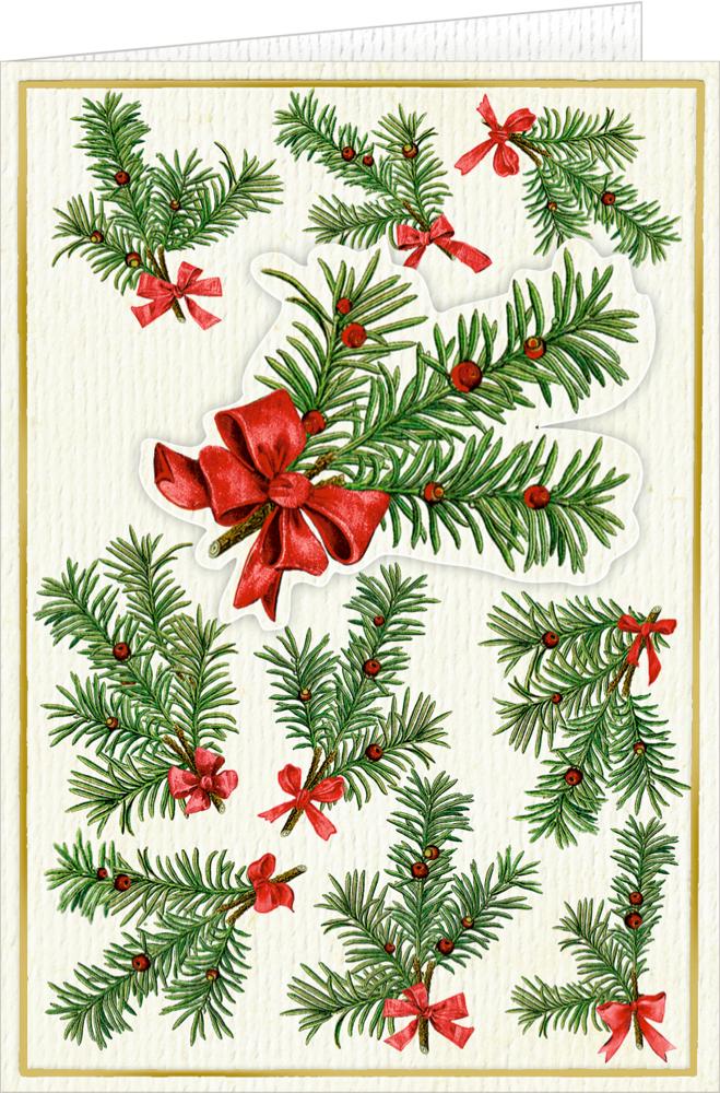 3D-Weihnachtskarte mit Kuvert: Tannenzweige (B. Behr)