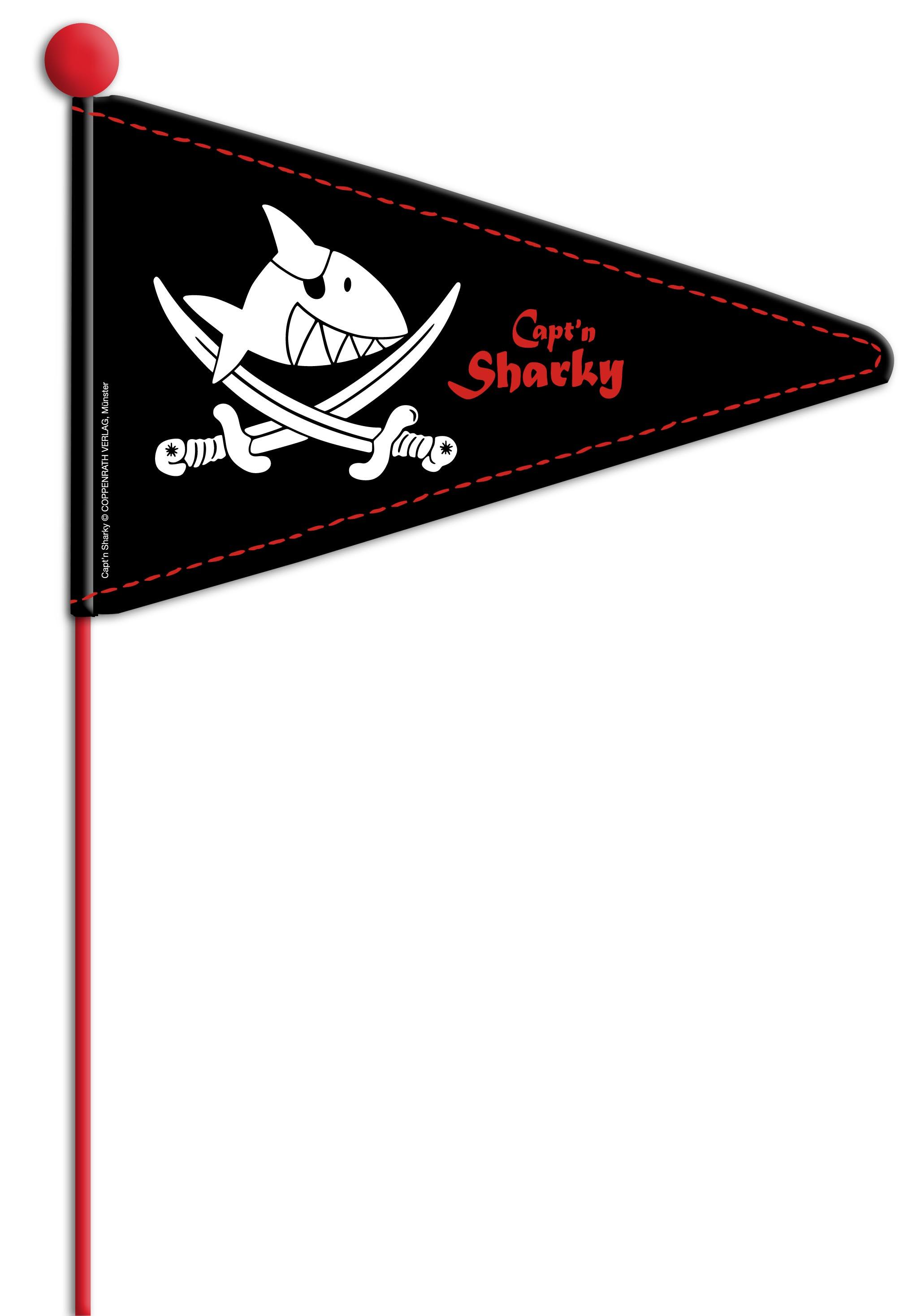 Sicherheitswimpel (teilbar) Capt'n Sharky (Marke Bike Fashion)