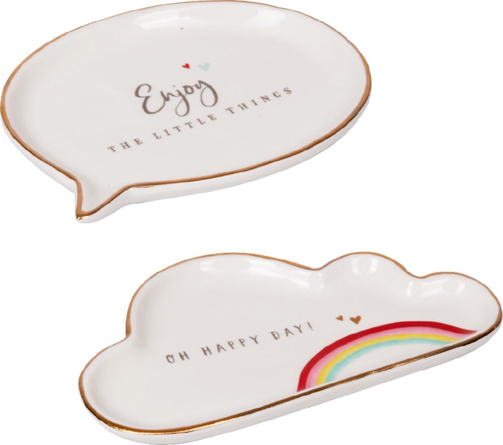 Kleiner Porzellan-Teller mit Botschaft Viel Glück