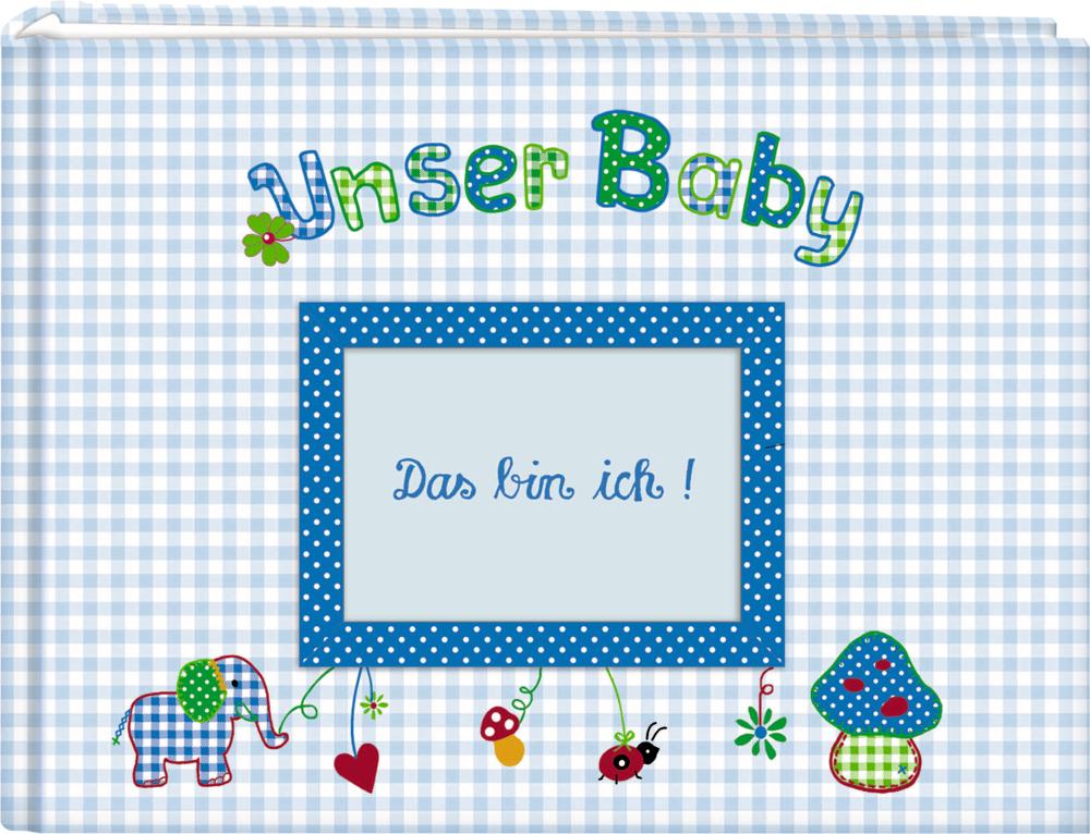 Großes Stoff-Fotoalbum Unser Baby, hellblau