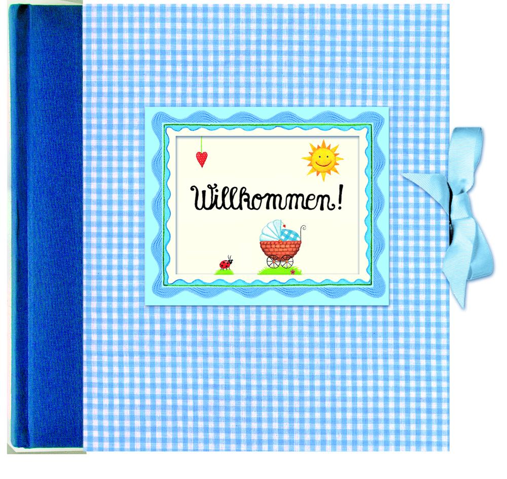 "Großes Baby-Fotoalbum ""Willkommen!"", hellblau"