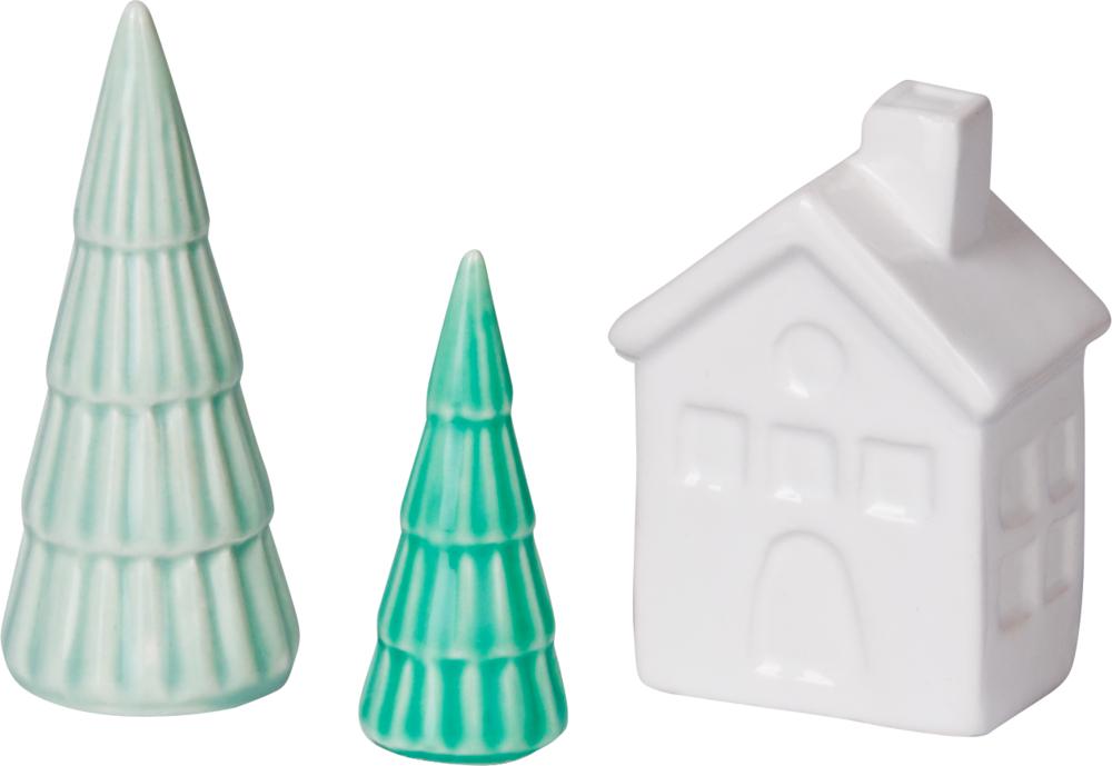 Mini-Dekoweihnacht - Haus und Tanne aus Keramik