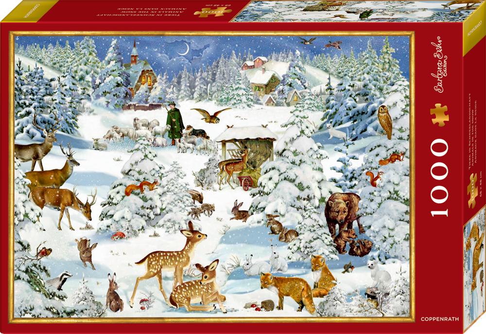 Puzzle Tiere in Schneelandschaft - B.Behr (1000 Teile)
