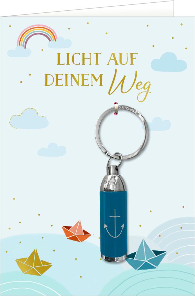 Grußkarte m.Taschenlampe: Licht auf deinem Weg (Boote)