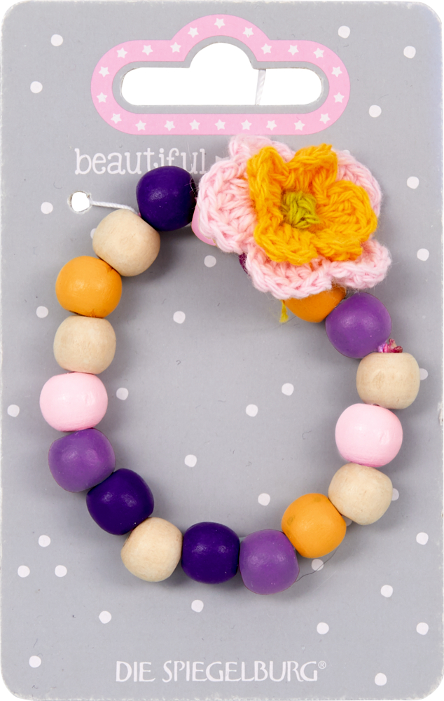 gelb/lila, Holz-Armband mit Blume beautiful Stars