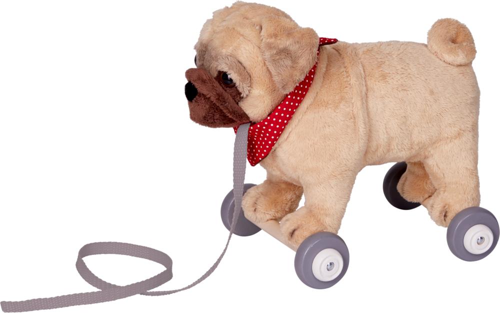 Mops Otto auf Holzrollen Lustige Tierparade