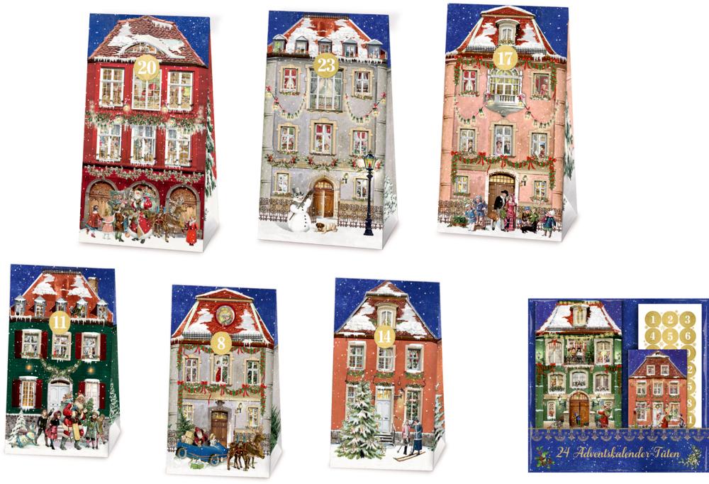 Nostalgische Weihnachtsstadt - 24 Adventskalender-Tüten (Behr)