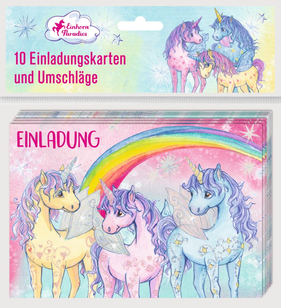 Einladungskarten Einhorn-Paradies