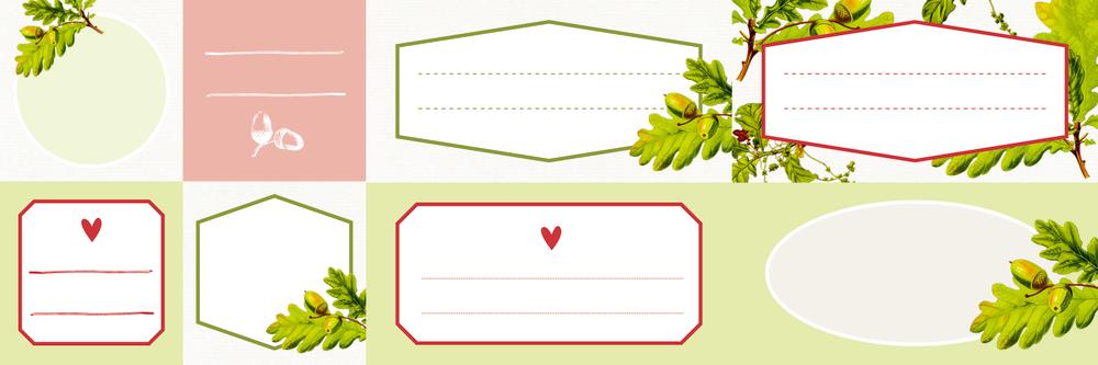Küchen-Etiketten für Gläser und Flaschen, Eichenblätter (Küchenpapeterie)