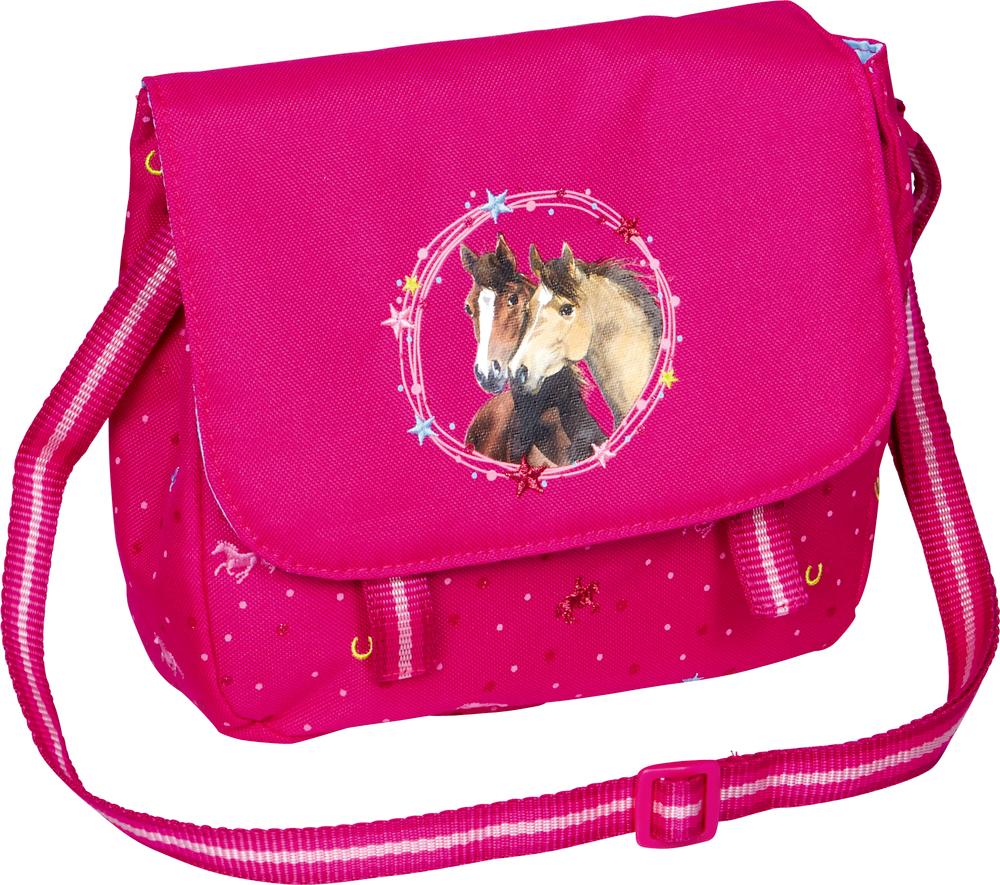 Umhängetasche Pferdefreunde (pink mit Glitzer)