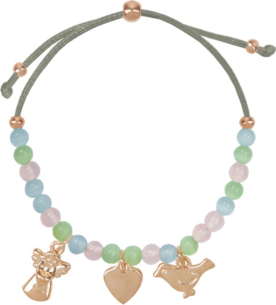 Armband mit Halbedelstein-Perlen und drei Anhängern