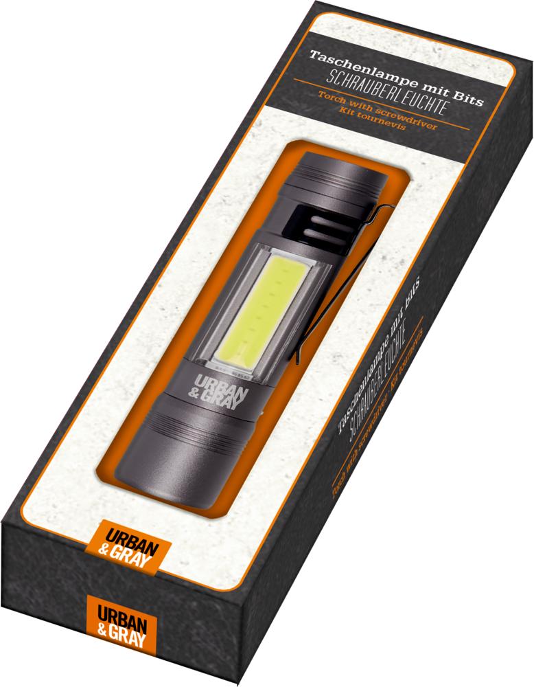 Taschenlampe mit Bits SCHRAUBERLEUCHTE Urban&Gray