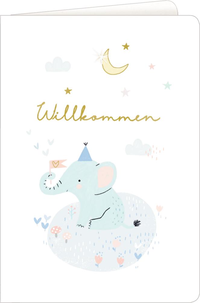 Elefant, Grußkarte Meine kleine Welt - Willkommen!