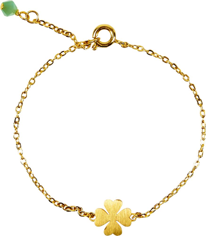 Kleeblatt Glücksarmband (mit Echtgold-Veredelung) Viel Glück