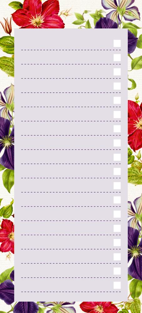 Einkaufsliste, Clematis Lila&Pink (Küchenpapeterie)