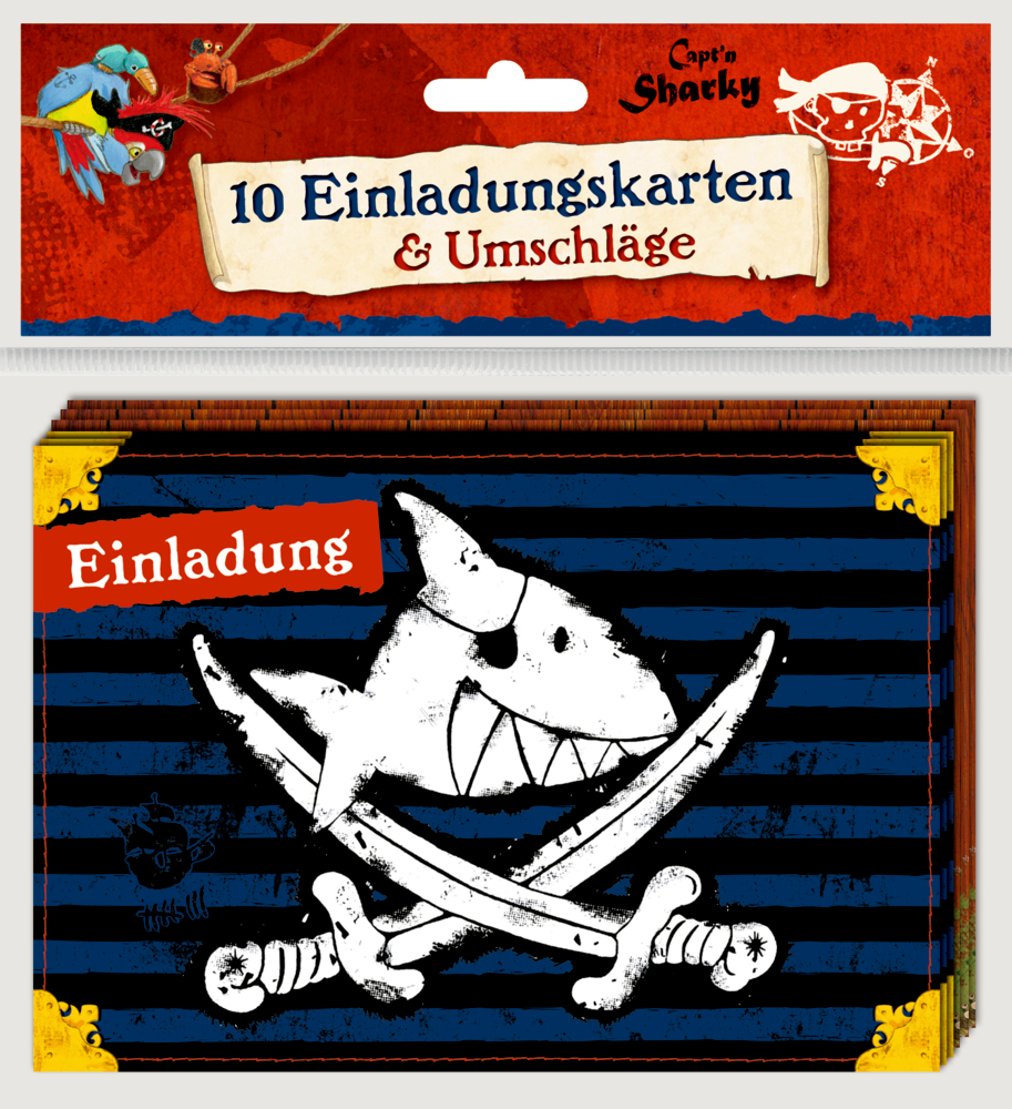 Einladungskarten Capt'n Sharky (10 Stück)