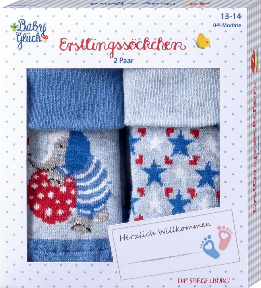 Erstlingssöckchen (2erSet) BabyGlück, hellblau (Gr.13-14/0-4Mon.)
