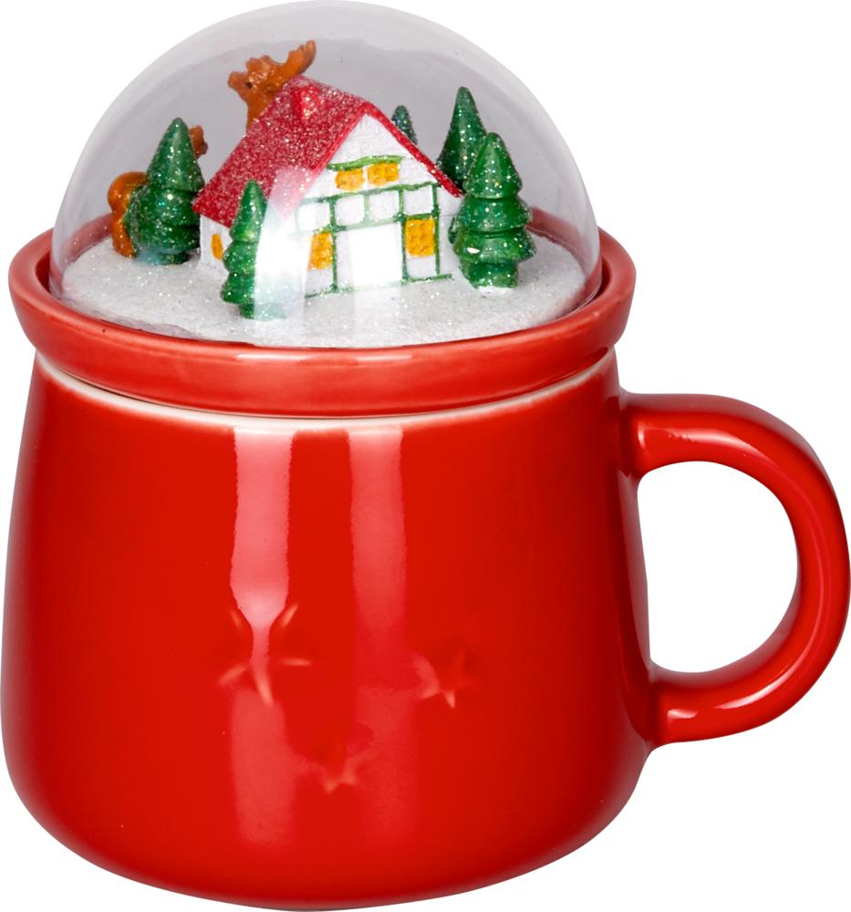 Porzellan-Tasse mit Kuppeldeckel Endlich Weihnachten!