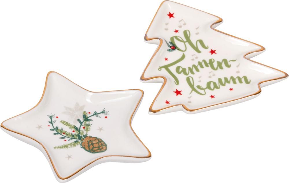 """Kleiner Deko-Weihnachtsteller """"Alle Jahre wieder..."""" aus Porzellan"""